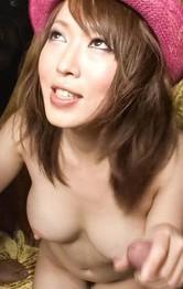 Sayaka Tsuzi Asian sucks two dicks and gets cum on hot knockers