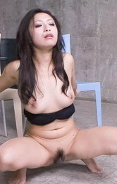 Nana Kunimi Asian pees on floor after getting three vibrators