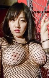 Azusa Nagasawa with huge cans in ripped fishnet swallows woody
