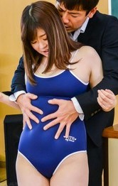 Kaho Asian licks dick and gets it under bath suit in classroom
