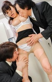 Miina Kanno with hairy cunt sucks dicks and rubs them with jugs