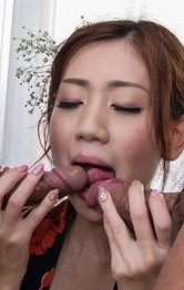 Kaori Maeda is fucked in fingered crack and mouth same time