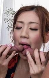 浴衣姿の前田かおりが二人の男優相手挟まれ、おマンコチェック!Wフェラご奉仕から、3P串刺し姦でイキまくり!連続中出しです!